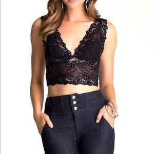 Bebe Black Sequin Bustier Lace Crop Top